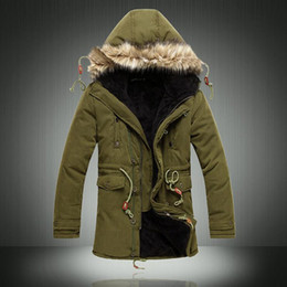 Wholesale Men Faux Fur Parka - Wholesale- 2017 New Men's Coats Casual Faux Fur Liner Hooded Warm Men Jackets Long Sleeve Belt Male Overcoat Army Green Long Parkas