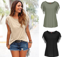 Wholesale Purple Blouses Tops - 2016 Summer Fashion Solid Color Leisure Time Short Sleeve Tassels Tie T Pity Blouse Rabbit Womens Shirts Crop Top