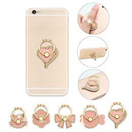 Wholesale Fish Finger - Universal 360 Degree Flower Bowknot Cat Fish Heart Crystal Finger Ring Holder Phone Stand For Mobile Phones