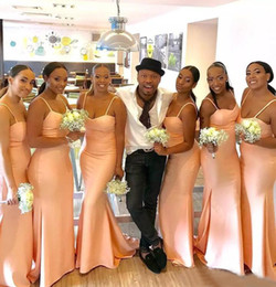 Wholesale Long Sexy Peach Bridesmaid Dresses - African 2017 Peach Satin Bridesmaid Mermaid Dresses Long Cheap Sexy Spaghetti Maid Of Honor Gowns Plus Size Custom Made EN9307