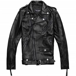 Wholesale Real Leather Jacket Men - Fall-Factory Men Genuine Leather Jacket Real Cowhide Brand Casual Star Style Punk Rock Motorcycle Biker Coat Winter ZH089 Plus Size