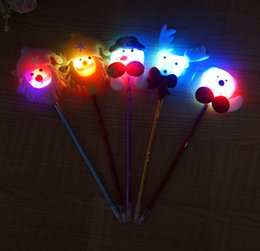 Wholesale Led Writing Pens - Popular Father Christmas Ball Pen Creative Electronic Led Light Pen Christmas Stationery For Children's Gift On Christmas Day
