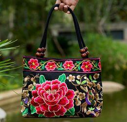 Wholesale Embroidered National Trend Bag - Hot 2016 quinquagenarian women's handbags national trend embroidered bag embroidery vintage canvas all-match small bag handbag Free shipping