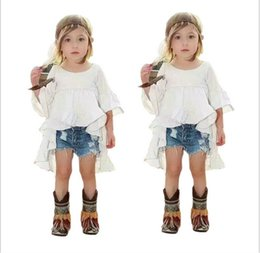 Wholesale Tuxedos Suits Wholesale - Fashion Girls Clothes Sets 2016 Girl White Tuxedo Dress+Cowboy Shorts 2pcs Kids Outfits Baby Girl Clothing Child Suit 2-7T 6sets lot