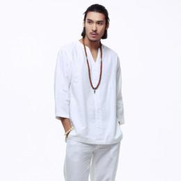 Camisa de lino kung fu online-Al por mayor-Mens Pullover camisas de algodón de lino manga tres cuartos para hombre de calidad China Kung fu camisas sólido camisas de algodón ocasionales hombres TS-151