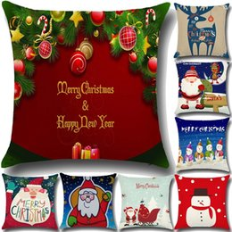 Wholesale High Sofas - High Qulity Christmas Cushion Covers For Sofa Comfortable Santa Claus Printed Pillowcases Cotton Decorative Pillow Case