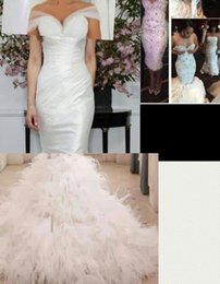 Cheap detachable train feather wedding dress - Custom Made Lace up Back Mermaid Wedding Dress With Off the Shoulder Sleeves Detachable Skirt Ruched Tulle Feather Bridal Gowns 2018