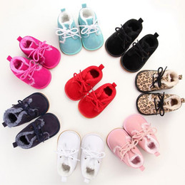 Wholesale Baby Leopard Plush - Fashion Leopard grain baby first walkers tollder infant cold winter leather plush fur boots kids non slip shoes 9colors 0-12M drop shipping