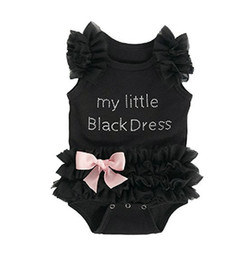 Wholesale Tutu Sizes For Kids - Prettybaby baby girls kids Jumpsuits 4 pcs black lace Rompers my little black dress sleeveless DHL for free I201670801