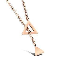 Wholesale Triangle Tassel Necklace - Custom Engrave Tiny Delicate Triangle Tassels Necklace in Stainless Steel - Silver, Rose Gold