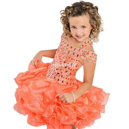 Wholesale Cheap Ritzee Dresses - Ritzee Orange Toddler Cupcake Girls Pageant Dresses Ball Gown Spaghetti Beading Organza 2016 Cheap Flower Girl Dresses for Wedding Birthday