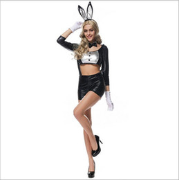 Wholesale Women Clothes Bunnies - 2017 New Bunny Suit Black Patent Leather Sexy Cosplay Halloween Costumes Uniform Temptation Club Party Clothing Hot Selling