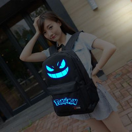 Wholesale Girl Bags For High School - 2016 poke Luminous backpacks 7colors fashion cartoon school bags for girls and boys Classical Design High-capacity Bags poke nylon bag
