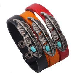 Wholesale Couple Wristband Bracelets - Alloy turquoise feathers leather bracelets Retro hand strap Couples wristband jewelry Girls gift 3 colors mixed batch