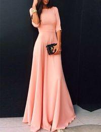 seide nachthemd in voller länge Rabatt Coral Long Satin Modest Brautjungfernkleider mit halben Ärmeln A-Linie bodenlangen Hochzeit Gäste Kleider Modest Günstige Maßanfertigung
