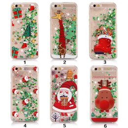 Wholesale Iphone 5s Christmas - Quicksand Star Christmas tree Santa Claus Clear Flowing Liquid Glitter Phone Cases for iPhone 5 5s SE 6 6s Plus 7 7plus