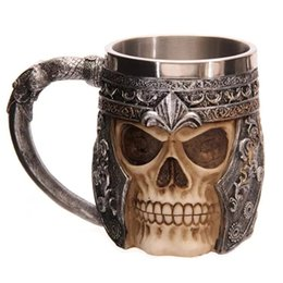 2016 Crânio Keller Halloween Presentes de Aço Inoxidável Cabeça De Esqueleto Xícara de Café de Resina Forma Do Copo Do Crânio 3d Tankard Horror Decor copo de