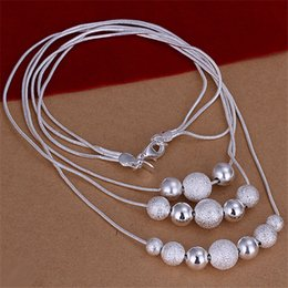Wholesale Copper Line - Hot sale Three lines more beads sterling silver necklace STSN020,fashion 925 silver necklace factory direct sale christmas gift