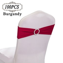 Wholesale Diamond Chair Sash - 100 Chair Sashes Spandex   Wedding Bows gold Chair Sash Bands   Lycra Strectch Chair Cover Band with Diamond Ring for Party Event Decor