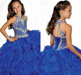 Wholesale Glamorous Flower Girl Dress - 2016 Glamorous Halter High Neckline Beaded Straps Beading Little Girls Pageant Dress Pleated Blue Organza Flower Girls Dress HY1188