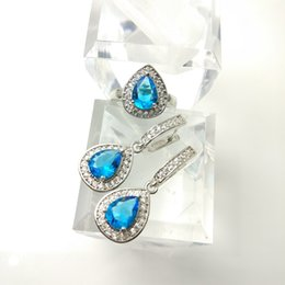 Wholesale China Blue Topaz - The new jewelry set for women's 925 fashion day Blue Earrings Ring Size 789 free jewelry boxes