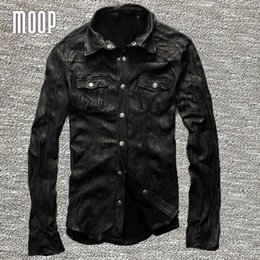 Wholesale Men S Real Leather Jacket - Fall-Shrivelled genuine leather coats 100%lambskin jacket real leather motorcycle jackets manteau homme veste cuir homme LT205
