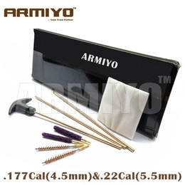 Wholesale Gun Cleaning Kits - Armiyo Rifle Airsoft Cleaning Kit With 3 Brass Rods Barrel Brush Cleaner For .177cal 4.5mm & .22cal 5.56mm Hunting Gun Accessories