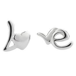 Wholesale Sterling Silver Alphabet Letters - Love Letter Earring 925 Sterling Silver Earring Silver Women Wedding Stud Beach Foot Earring Retro Casual Earrings