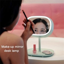 Wholesale Girls Dressers - Wholesale- Creative Make-up Mirror Desk Lamps Lover Girls Gift Night Lights Bedroom Dresser Lighting Multifunctional LED Dimmer Table Lamp
