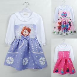 Wholesale Cartoon Character Costume Princess - Baby Girls Frozen Elsa Princess Dresses Kids Cartoon Trolls Bubble Skirts Bow Long Sleeve Party Cosplay Costume