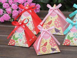 Wholesale Candy Box Pyramids - The new European wedding wedding festival supplies Floral Cake creative carton candy box pyramid candy box