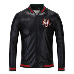 Wholesale Mens Pilot Jacket Fur - Wholesale New Fashion Design Tiger Embroidery Unisex Bomber Jacket Mens Leather Motorcycle Pilot Jackets