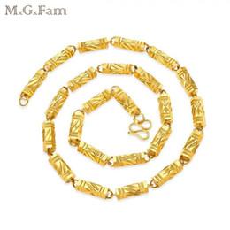 Oro zecchino online-(210N) MGFam (60cm * 8mm) Pure Gold Colour Six Angle Heavy catena collane gioielli per uomo piombo e nichel libero