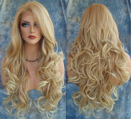 Wholesale Synthetic Natural Wave Wig - Hot Long Wavy Synthetic Wigs 2016 Fashion Costume Hair Wigs Charming Curly Blonde Wigs for Women JF024