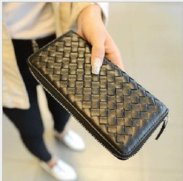 Wholesale Long Leather Dresses Cheap - Hot! wholesale 2017 famous brand fashion single zipper cheap luxury women pu leather Knitting wallet lady ladies woman long purse With Box