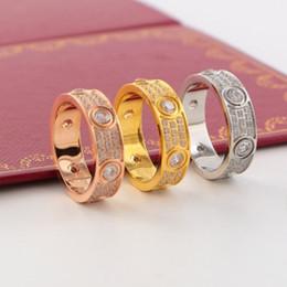 2019 canali impostati Hot 6mm Fine anello famoso marchio C logo amore anelli per le donne gli amanti degli uomini anello in titanio acciaio pieno di diamanti cz anelli di nozze gioielli
