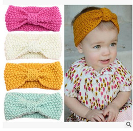 Wholesale Headbands Plastic Color - 2016 Baby Girls Hair Accessorie Butterfly knitting Kids Hair Band European style big bows headwear ear protection headwear H149