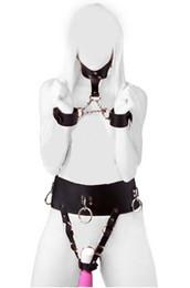 Wholesale Belt Vibrator - Sex Bondage Set PU Leather Female Vibrator Harness Forced Multi Orgasm Underwear with Neck Collar to Wrist Restraint Cuffs