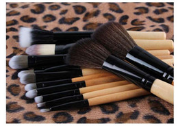Wholesale Leopard Eyeshadow - Leopard case cosmetic brush set 12pcs with wood handle Makeup Brushes Set Powder Foundation Eyeshadow Eyeliner Lip Brush Tool