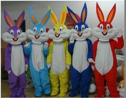 Wholesale High Quality Rabbit Costume - High quality Adult size Cartoon bugs bunny rabbit Mascot Costume mascot halloween costume bugs bunny Mascot free shipping