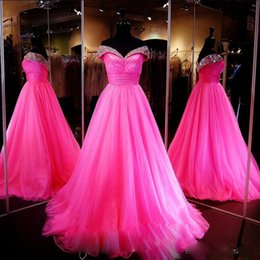 Wholesale Back Up Online - 2017 Fuchsia Crystal Prom Dresses Sweetheart Off the Shoulder Quinceanera Dresses Lace Up Custom Made Prom Gowns OnLine
