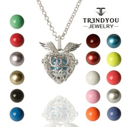 Wholesale Stainless Ball Chains - TRENDYOU Wholesale Flower Angel Ball Floating Locket Fit 16mm Silver Cage Harmony Ball Ringing Chime Pendant For Women
