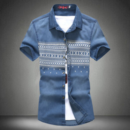 Wholesale Water Shirts For Men - Wholesale-2016 New Men Jeans Shirts Summer&Autumn Water Washing Male Tops Short Sleeve Flower Print Denim shirt For Men Brand Clothing