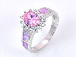Wholesale Pink Stones Jewelry - Wholesale & Retail Fashion Fine Pink Fire Opal Ring & Pink Cubic Zirconia Stone 925 Silver Plated Jewelry For Women RAT152101