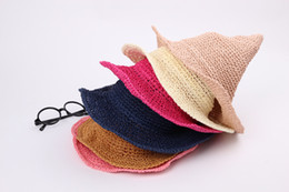 Wholesale Straw Hats For Children - New styles Baby straw hats sunhats for girl and boys kids Wizard's Hat Children powwow hats 9colors 114pt