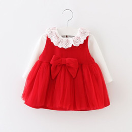 Wholesale Girl Vest Lace Dress Winter - Autumn new girls princess dress korean style children hollow falbala collar long sleeve tops + bowknot tulle red vest dress 2pcs sets T0240