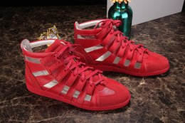 Wholesale Summer High Top Sandals - Smooth Leather Kanye West Fashion High Top Lace Up Gladiatoral Mens Sandals Shoes Superstar Zapatillas Deportivas Hombre Flats Pierced work