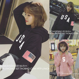 Wholesale Hoodies Wholesale Usa - Wholesale- On sale christmas new year women ladies USA flag letter printed Hoodie harajuku sweatshirts kpop pull tracksuit jumper