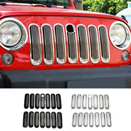 Wholesale Bar Grille - Front Grilles(Column Bar)With Key Hole Fit For Jeep Wrangler 2007-2016 Car Exterior Accessories ABS