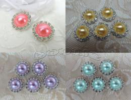 Bouton 21mm en Ligne-50pc / lot 21mm cristal et perle strass embellissement bouton en métal boucle d'oreille dos plat fournit M68638